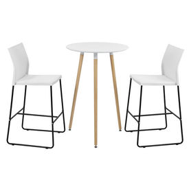 [en.casa]® Set design bar Tennessee, masa rotunda cu 2 scaune, masa 70 x 107 cm, scaun 107 x 31 x 48 cm, MDF/plastic/metal, alb