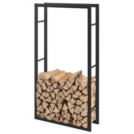 [en.casa]® Stove Suport lemne pentru sobe si seminee AAFR-6607, 80 x 150 x 25 cm, otel, negru