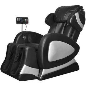 Fotoliu electric masaj, panou control, piele artificială, negru
