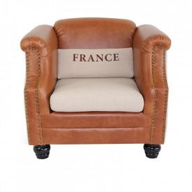 Fotoliu material textil bej/piele ecologica maro GL FRANCE