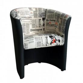 Fotoliu piele ecologica neagra/material textil motiv ziare GL CUBA