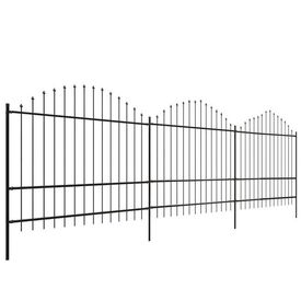 Gard pentru grădină cu vârf suliță (1,75-2)x6 m Oțel, negru