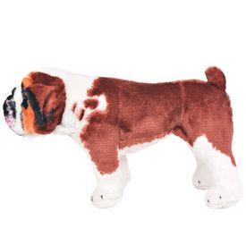Jucărie de pluș buldog în picioare, alb și maro, XXL