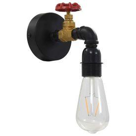 Lampă de perete, aspect de robinet, negru, E 27