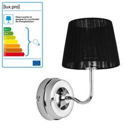 Lampa de perete Nisa, 21 cm, E14, 40W, metal/textil, negru