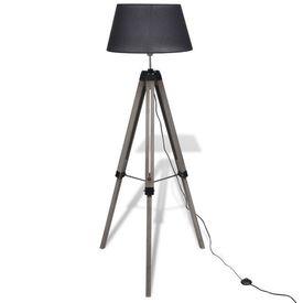 Lampă de podea ajustabilă cu tripod, abajur din material textil, negru