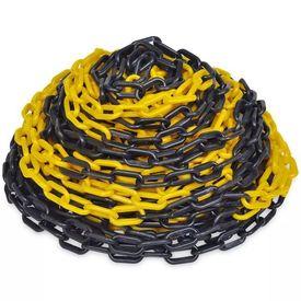 Lanț din plastic pentru semnalizare 30 m, galben și negru