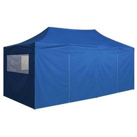 Marchiză pliabilă, 4 pereți laterali, 3 x 6 m, albastru
