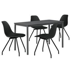 Masa bucatarie/salon design elegant (140x60cm) - cu 4 scaune negre elegante