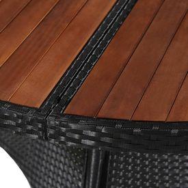 Masă de exterior, poliratan și lemn masiv acacia, 115x74 cm