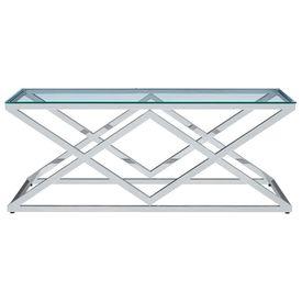 Măsuță cafea transparent 120x60x45cm sticlă securizată & oțel