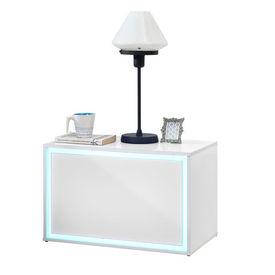 Noptiera iluminata cu LED Luminosa, 59 x 36 x 38 cm, MDF, alb lucios cu telecomanda