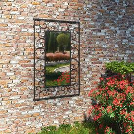 Oglindă de perete de grădină, negru, 50x80 cm, dreptunghiular