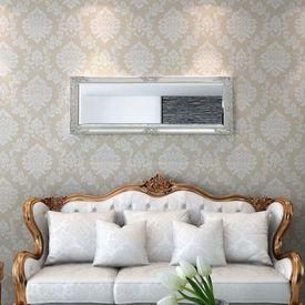 Oglindă verticală în stil baroc 140 x 50 cm argintiu
