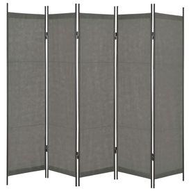 Paravan de cameră cu 5 panouri, antracit, 250 x 180 cm
