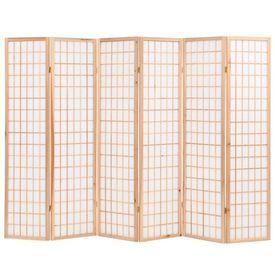 Paravan pliabil 6 panouri, stil japonez, 240x170 cm, Natural
