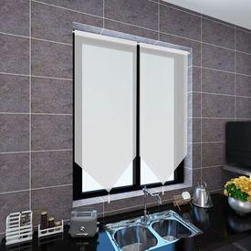 Perdele bucătărie voal cu aspect de pânză 2 buc. 60x160 cm Alb