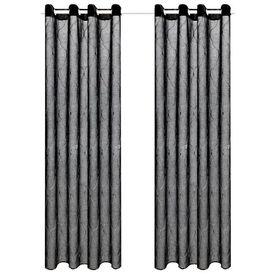Perdele transparente cu broderie, 2 buc., 140 x 175 cm, negru