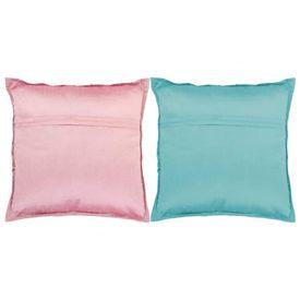 Perne decorative din petice 2 buc. roz/turcoaz 45x45 cm manual