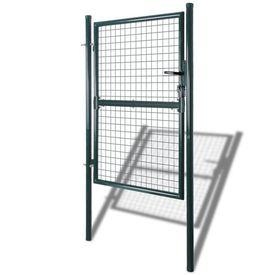 Poartă gard din oțel, 85,5 x 200 cm/100 x 250 cm, verde