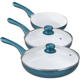 [pro.tec]® Set tigai ceramica - 3 tigai clatite + 2 capace - verde smarald