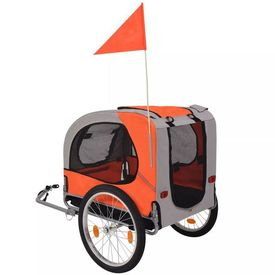 Remorcă bicicletă pentru câini, portocaliu și gri