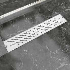 Rigolă duș liniară, model ondulat, oțel inoxidabil, 630x140 mm