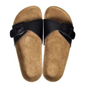 Sandale unisex din plută bio, 1 curea cu cataramă, mărime 39, negru