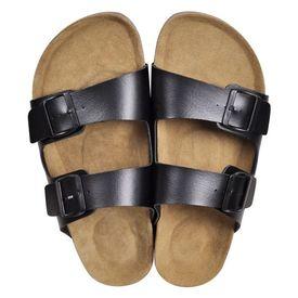 Sandale unisex din plută bio, 2 curele cu cataramă, mărime 40, negru