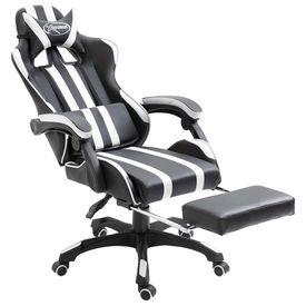 Scaun pentru jocuri cu suport de picioare, alb, PU
