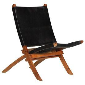 Scaun relaxant, piele naturală, 59 x 72 x 79 cm, negru