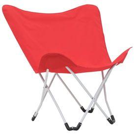 Scaune de camping tip fluture, 2 buc., roșu, pliabil