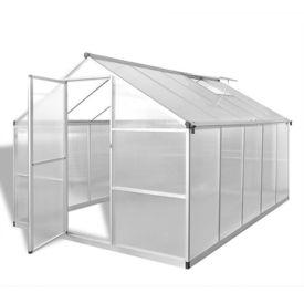 Seră din aluminiu ranforsat cu cadru la bază, 7,55 m²