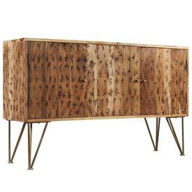 Servantă, lemn masiv acacia, modele fractale, 120 x 30 x 75 cm