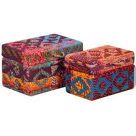 Set 2 cutii de depozitare, țesătură Chindi, multicolor