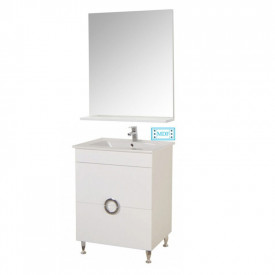 Set Baza, lavoar baie GN0811 cu sertare si oglinda GN0551 - 60 cm alb