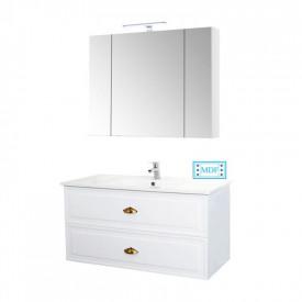 Set Baza si lavoar GN0961 cu sertare, suspendat si Oglinda Celine - 100 cm, alb