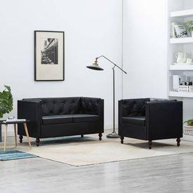 Set canapele, 2 piese, negru, tapițerie din piele artificială