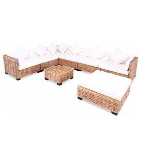 Set mobilier cu canapea 27 piese, culoare naturală, ratan