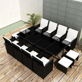 Set mobilier de exterior 33 piese, poliratan, negru