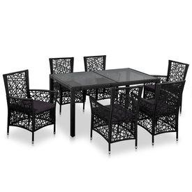 Set mobilier de exterior, 7 piese, poliratan, negru