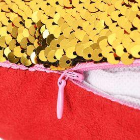 Set perne cu paiete, 2 buc., 60x60 cm, roșu și auriu