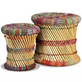 Set scaune 2 buc, bambus cu detalii chindi, multicolor