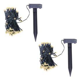 Șir de beculețe LED solare, 2 buc, alb cald