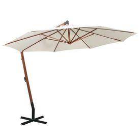 Umbrelă de soare suspendată cu stâlp de lemn, 350 cm, alb