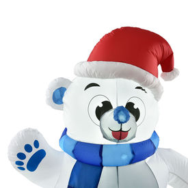 Urs polar gonflabil figurina Craciun iluminata cu LED, 120 x 100 x 70 cm, nylon, alb