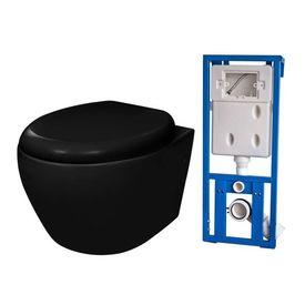 Vas toaletă cu mecanism silențios și rezervor, Negru