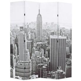 vidaXL Paravan cameră pliabil, 160x180 cm, New York pe zi, alb/negru