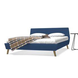 vidaXL Pat cu saltea, albastru, 160 x 200 cm, material textil