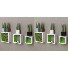 vidaXL Rafturi cub de perete, 6 buc., alb și verde